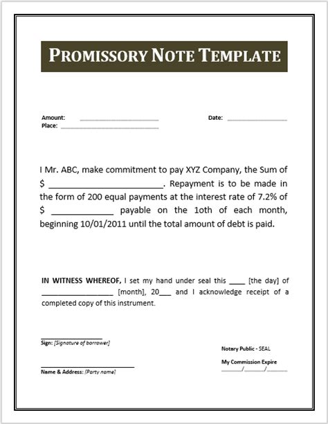 43 free promissory note sles templates ms word and