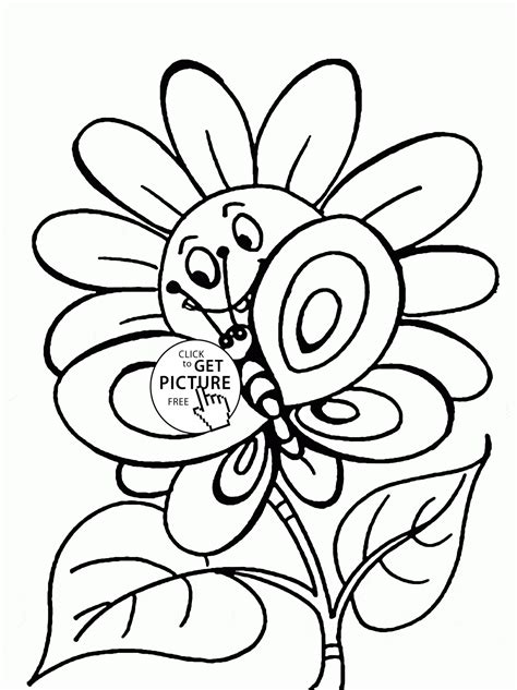 cute spring coloring pages cute spring flower and butterfly coloring page for kids