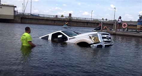 boat parking fails boat r fail wife submerges brand new ford f 150