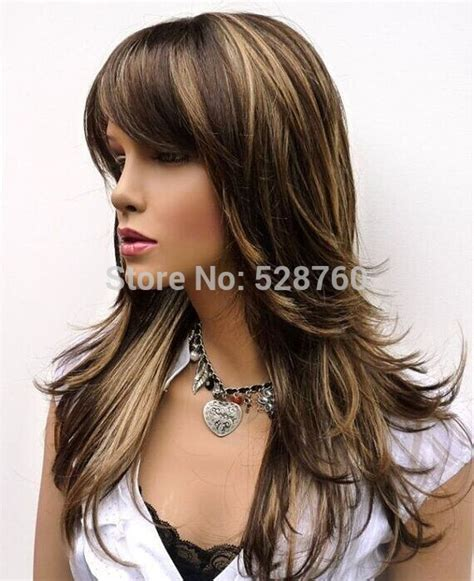 the best shoo for hair with highlight feathery long layered wig brown with blonde highlights