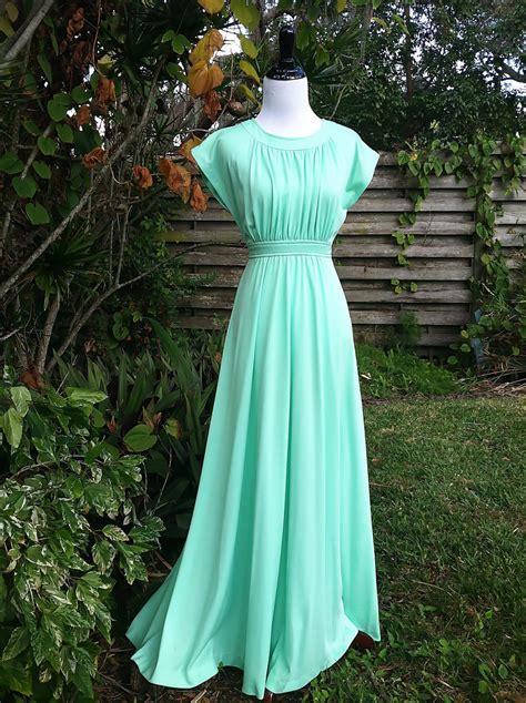 mint colored vintage dress 1970s maxi dress mint gown 1970s gown mint