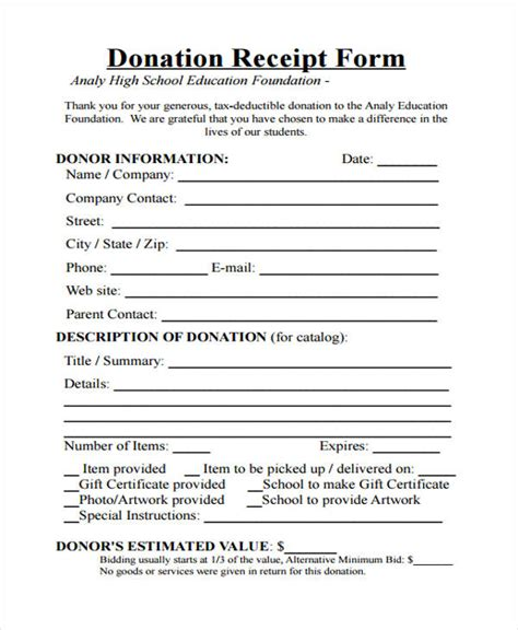 pta donation receipt template nm 42 free receipt forms