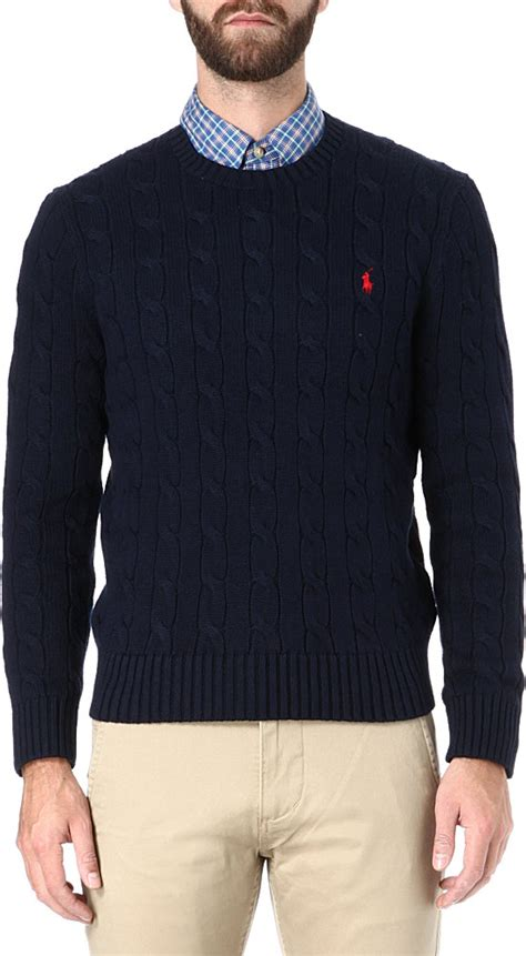 ralph cable knit jumper navy ralph cable knit crewneck jumper in blue for