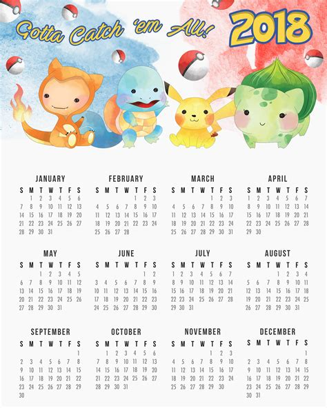 libro pokemon official 2018 calendar free printable 2018 pokemon calendar the cottage market