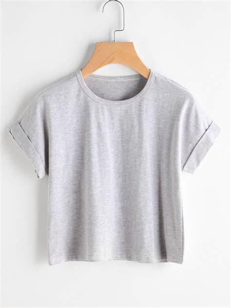 Tshirt T Shirt Caterpillar cuffed slub tshirtfor romwe