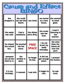 cause and effect printable card games speech therapy cause and effect bingo by quot speech quot ercise tpt