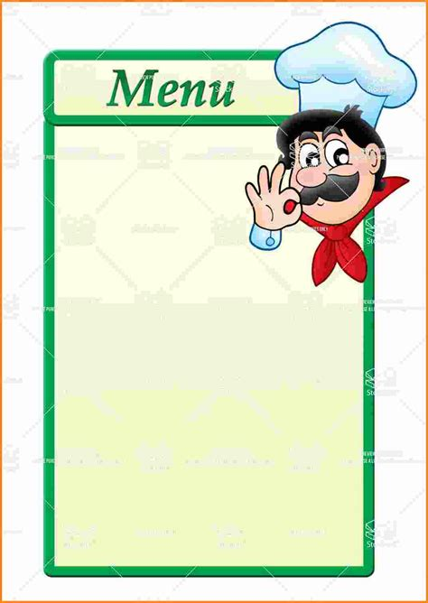 printable menu templates 10 blank menu template cashier resume