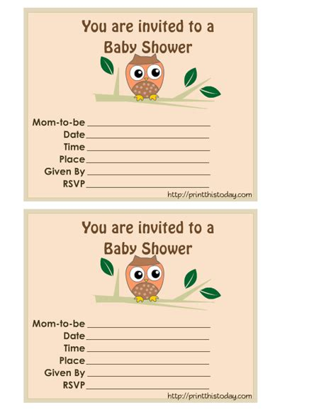 baby shower invitations free free printable owl baby shower invitations
