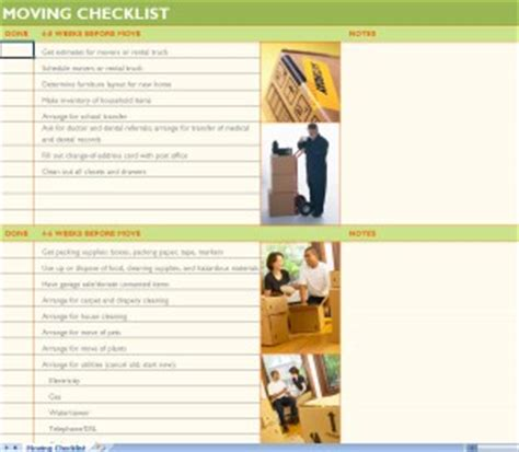 House Moving Checklist Excel Template House Moving Checklist Moving List Template