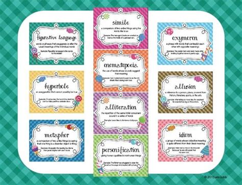 printable personification poster figurative language poster set reading candy theme set of