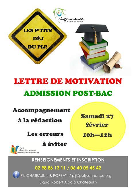Lettre De Motivation Apb Post Bac Polysonnance Maison Pour Tous Centre Social Chateaulin Famille