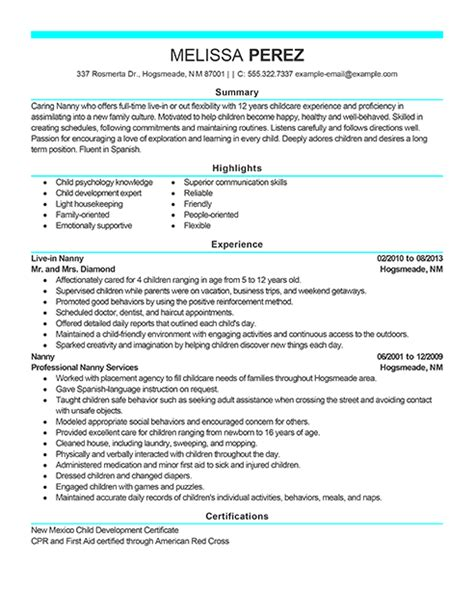 nanny resume examples inspirational nanny resume example best