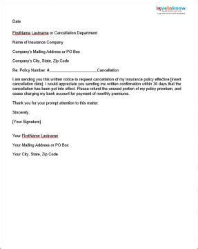 letter format for cancellation of insurance policy sle insurance cancellation letter lovetoknow