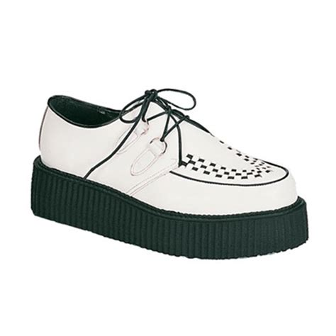the creeper shoes demonia creeper 402 white leather mens creeper shoes
