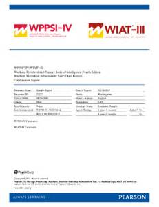 Wisc Iv Report Template Wppsi Iv Sample Report Fill Online Printable Fillable