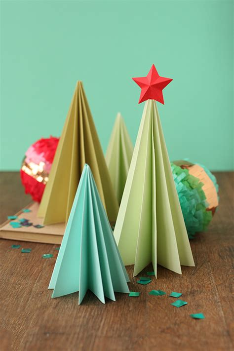 Tree Paper Folding - accordion style folded paper trees 30 minute