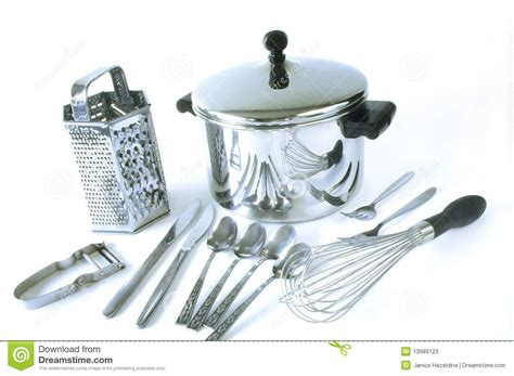 kitchen stuff group of stainless steel kitchen items stock photos