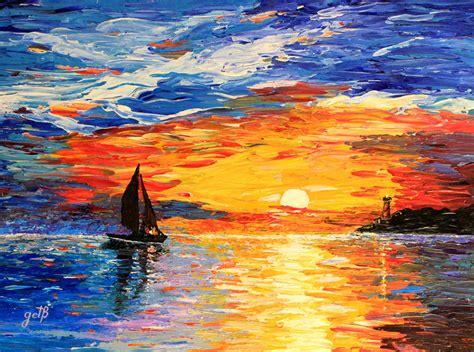 acrylic paint sunset acrylic sunset paintings sea sunset acrylic