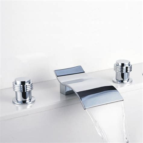 Shower And Sink Faucets Contemporary Waterfall Bathroom Sink Faucet Chrome Finish