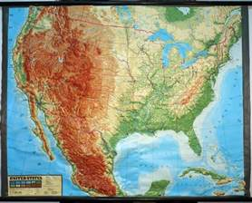 large raised relief map of contiguous usa