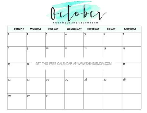 Calendar October 2017 Printable Free Printable October 2017 Calendar 12 Awesome Designs