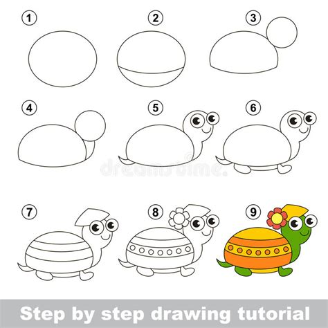pattern drawing game drawing tutorial how to draw a turtle stock vector