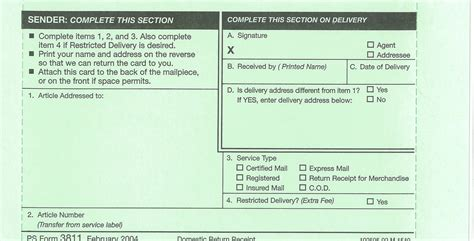 return receipt template ucr mail services domestic return receipt ps form 3811