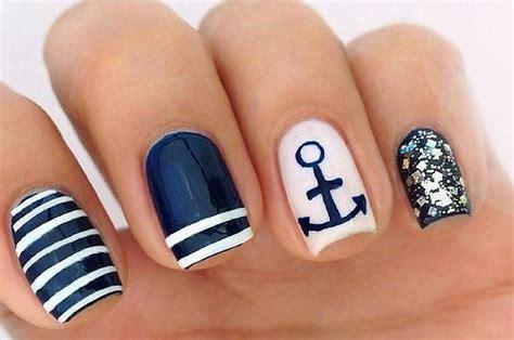summer acrylic nail designs with anchor summer nail art diy nautical nails tutorial
