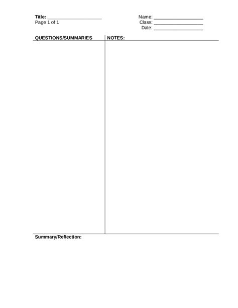 Cornell Notes Powerpoint Template by 2018 Cornell Notes Template Fillable Printable Pdf