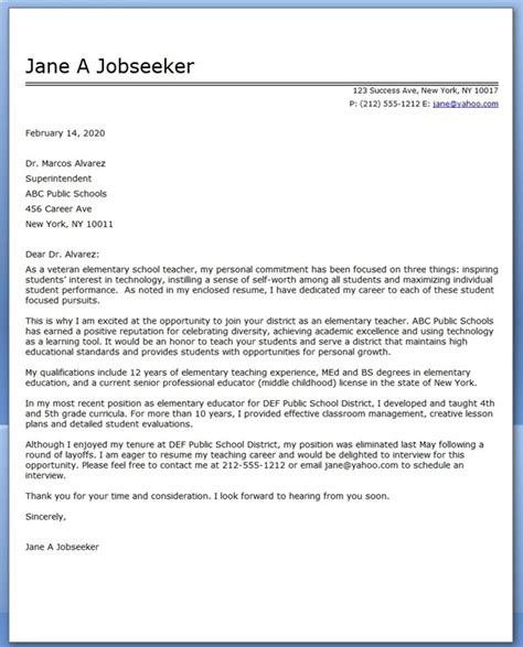 exle cover letter for teaching elementary school cover letter