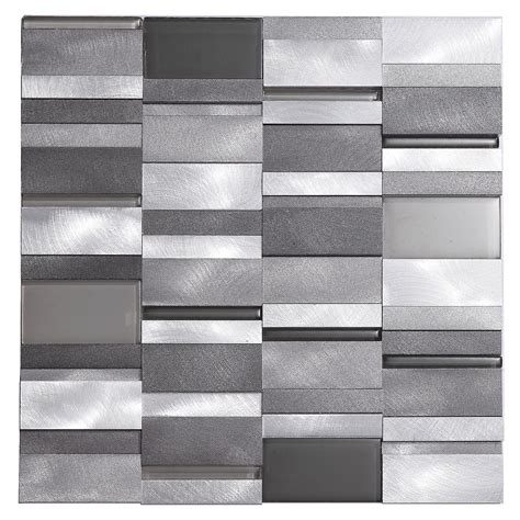 aluminum tile silver mix modern pattern kitchen