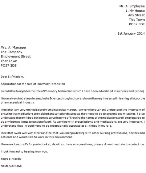 Pharmacy Tech Cover Letter by Pharmacy Technician Cover Letter Exle Icover Org Uk