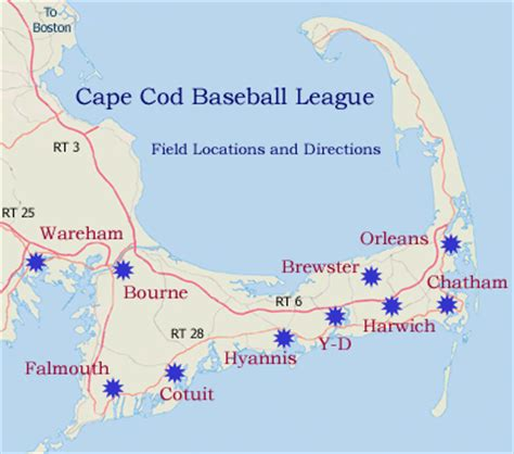 where is cape cod located on a map cape cod baseball league field directions