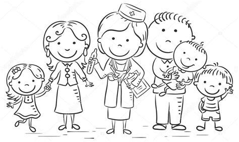 imagenes de una familia en blanco y negro m 233 dico de familia de dibujos animados archivo im 225 genes