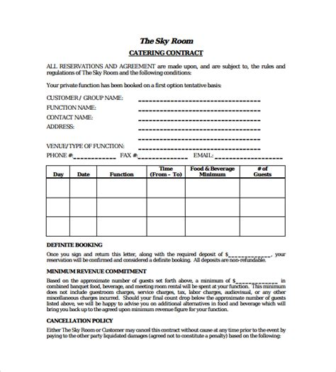 wedding catering contract template agreement primary captures also