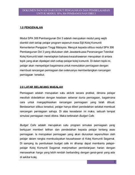 format proposal untuk memulakan perniagaan kertas kerja budget cafe