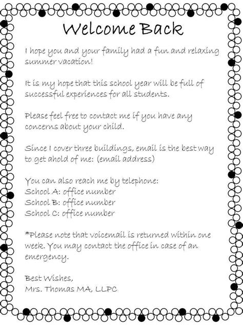 Parent Letter Welcome Back To School Open House Welcome Back Letter From The School Counselor