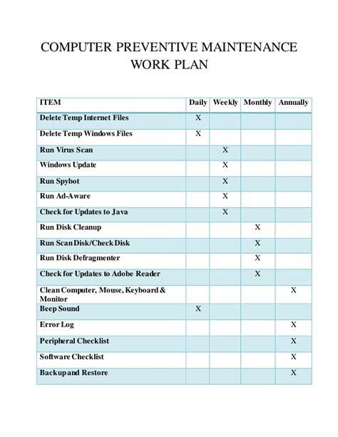 computer checklist template computer maintenance work plan