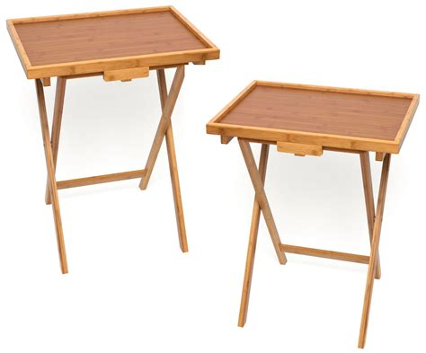 bamboo tv trays set of 2 tv trays snack tables
