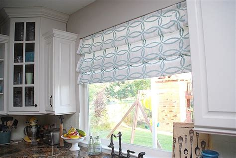 roman shade curtain stenciled faux roman shades tutorial kitchen sneak