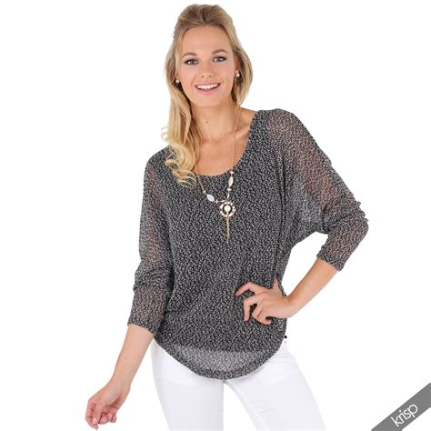 Knit 2in by Womens 2 In 1 Fishnet Knit Batwing Jumper Top