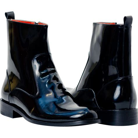 santino black patent leather boots paolo shoes