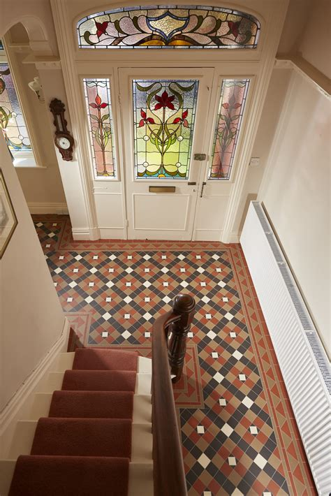 richmond pattern victorian floor tiles  original