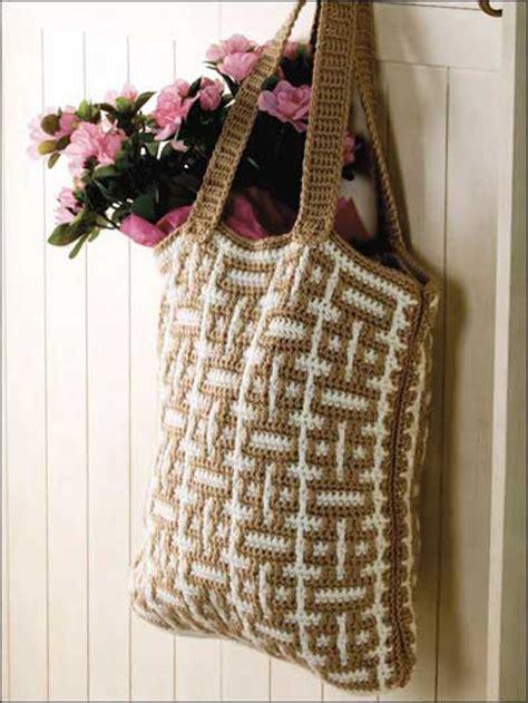 yarn tote pattern mosaic crochet tote