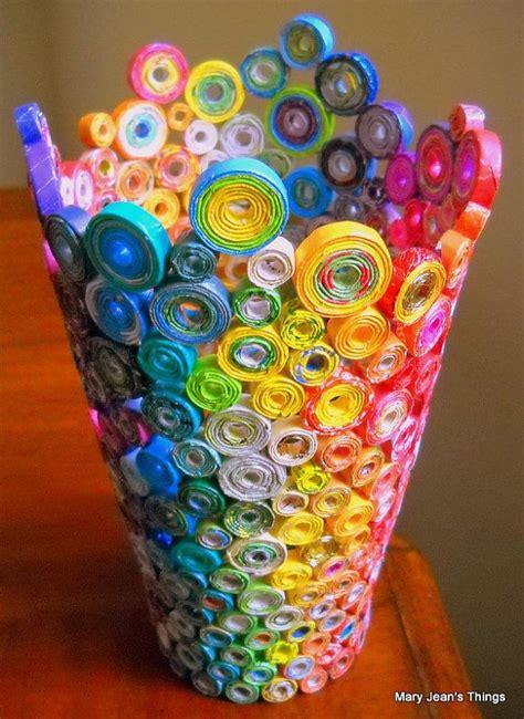 membuat vas bunga dari kertas sobat pulsk keren ya kreasi dari lilitan kertas bekas ini