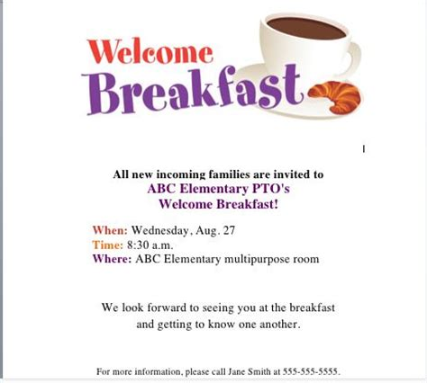 Get Our Welcome Breakfast Flyer On The Pto Today File Exchange Back To School Pinterest Welcome Flyer Template