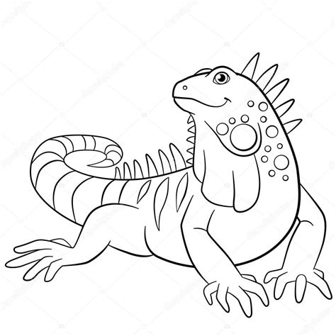 iguana coloring page coloring pages iguana smiles stock vector 169 ya