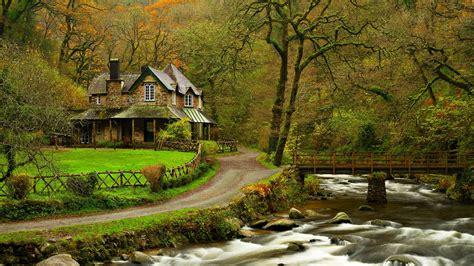 home wallpaper hd full hd wallpaper autumn river house forest desktop