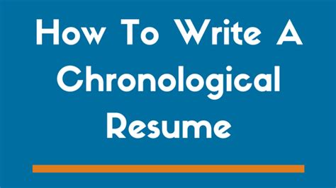 how to write a chronological resume exle included