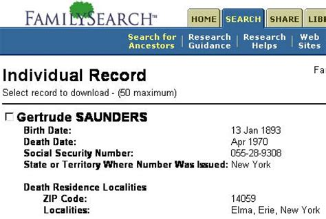 Social Security Index Records Family And Descendants Of Gertrude R N 233 E Schwert Ohl Saunders 1893 1970
